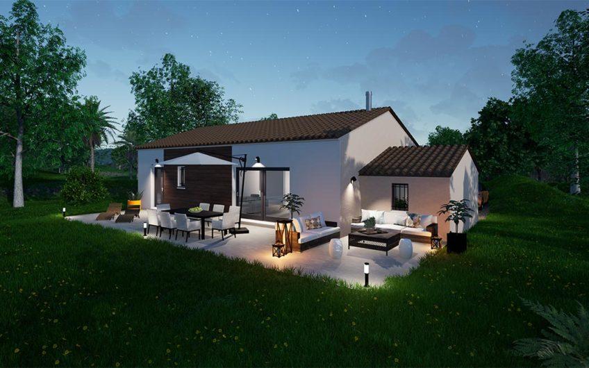 Maison moderne avec grand jardin